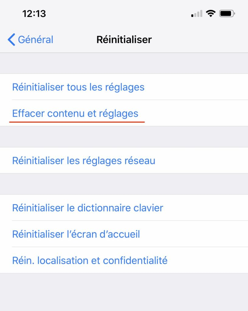 Menu iPhone Réinitialisation